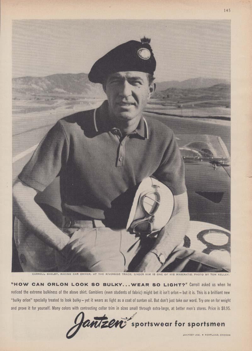 Carroll Shelby for Jantzen Sportswear for Sportsmen ad 1958 Maserati