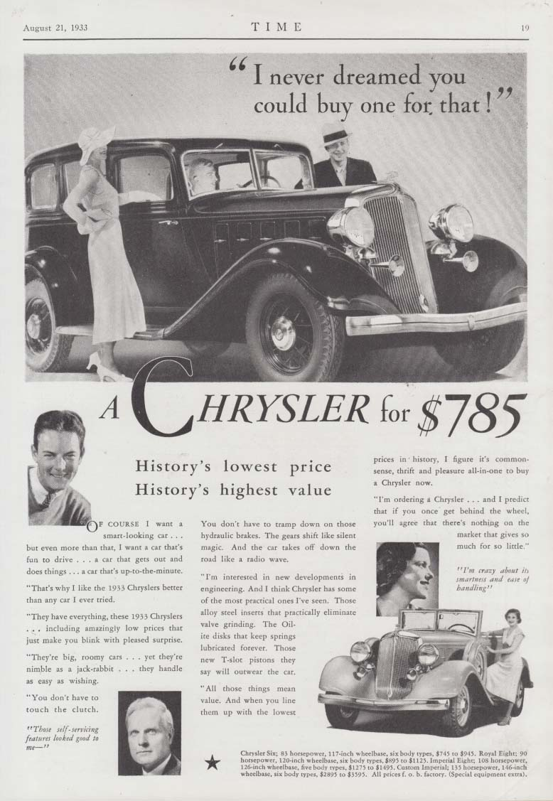 I never dreamed I could buy one for that! Chrysler Six ad 1933