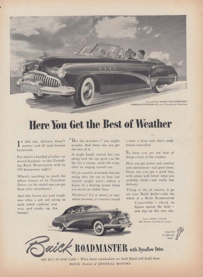 Here You Can Get the Best of Weather - Buick Roadmaster Convertible ad 1949 Nwk