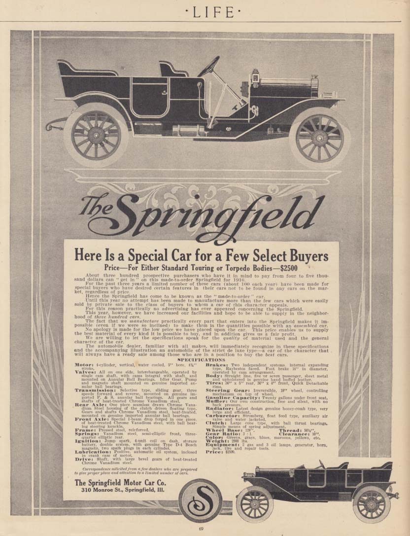 Here is a Special Car for a Few Select Buyers - Springfield Touring ad 1910