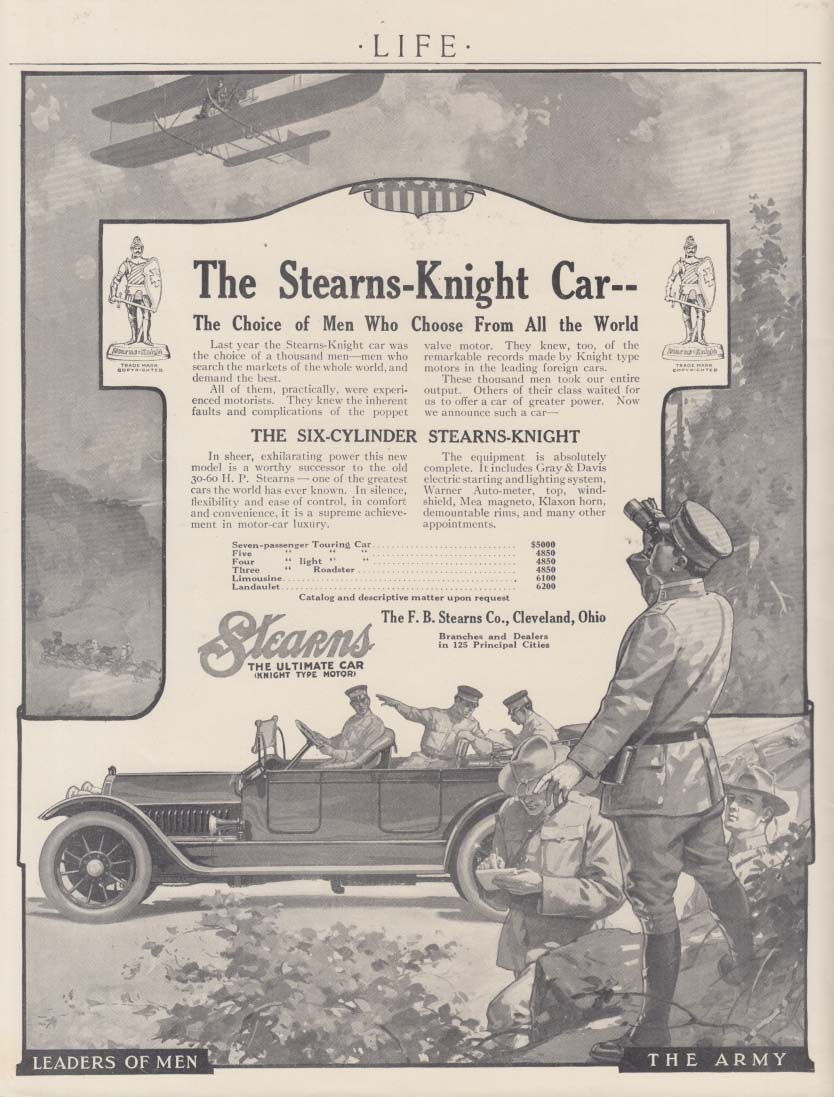 Choice of Men who Choose - Stearns-Knight Touring ad 1914 US Army motif