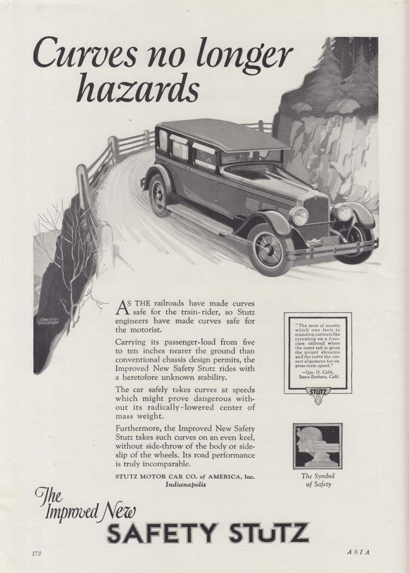Curves no longer hazards - Safety Stutz Sedan ad 1927