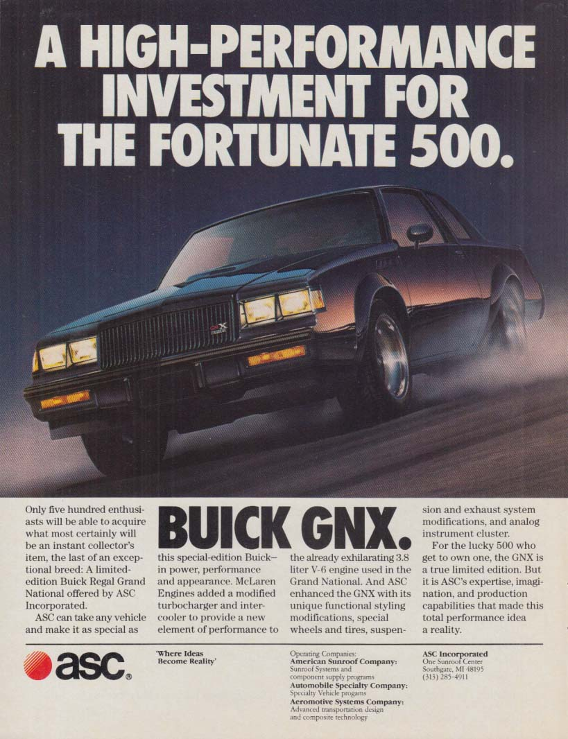 A High-Performance Investment for the Fortunate 500 Buick GNX ad 1987