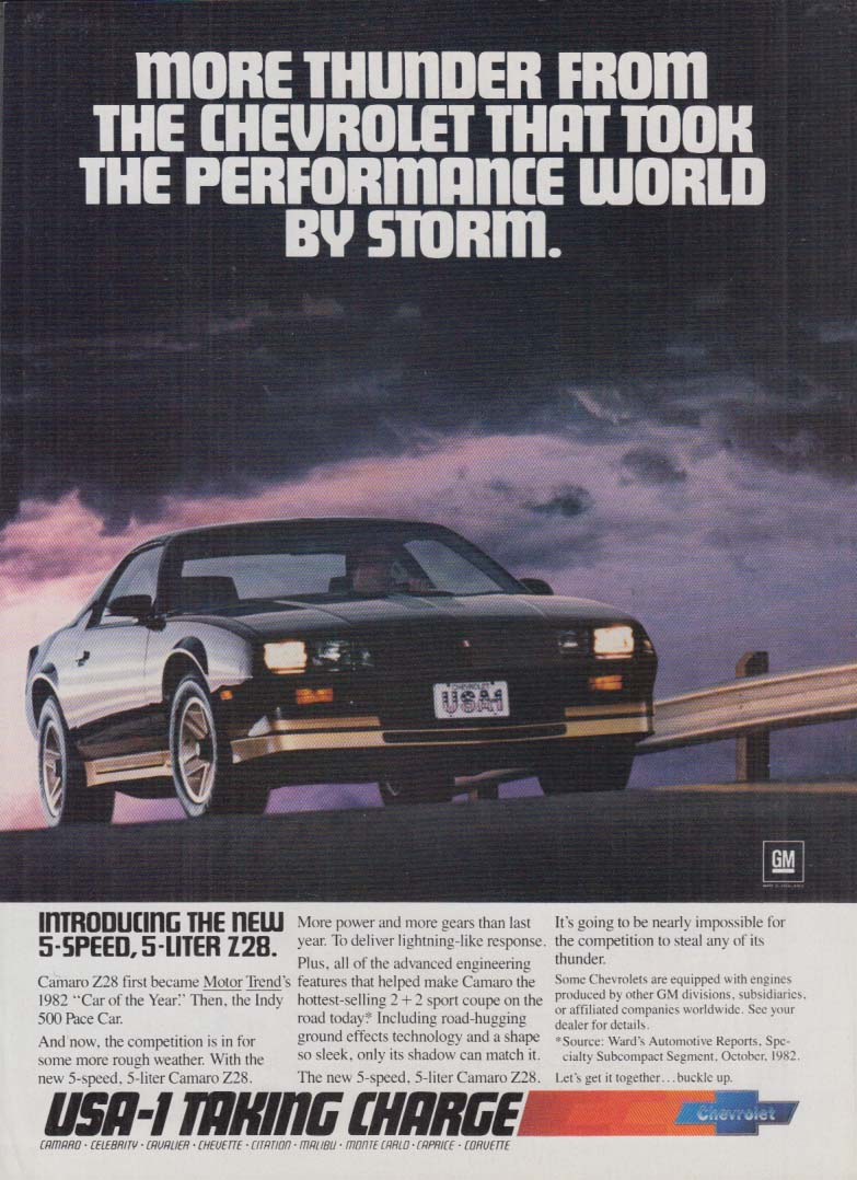 More Thunder from the Chevrolet Camaro Z28 ad 1983