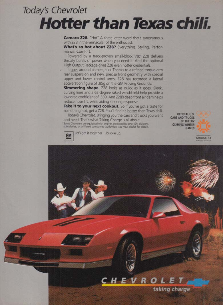 Hotter than Texas chili - Chevrolet Camaro Z28 ad 1984 C&D