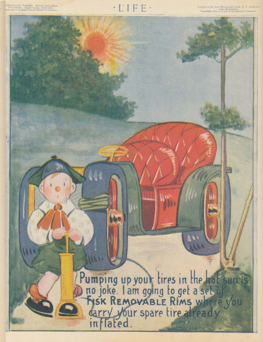 Image for Pumping up your tires in the hot sun is no joke Fisk Removable Rims ad 1909