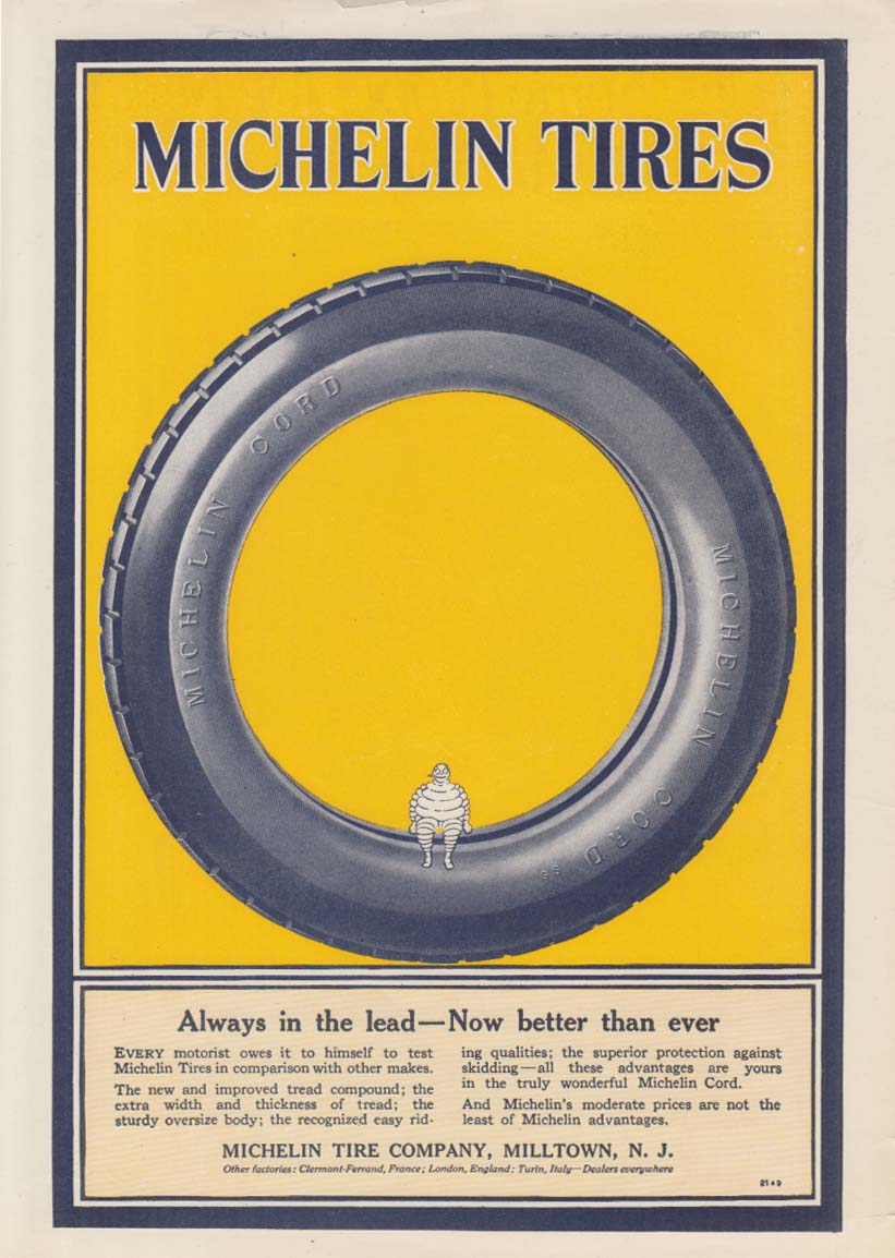 Always in the lead - Now better than ever Michelin Tires ad 1921