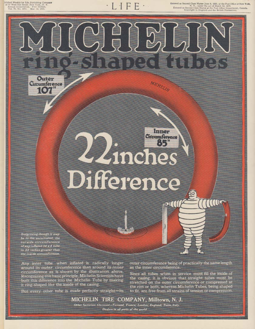 Image for 22 inches Difference - Michelin Ring-Shaped Tubes tire ad 1920
