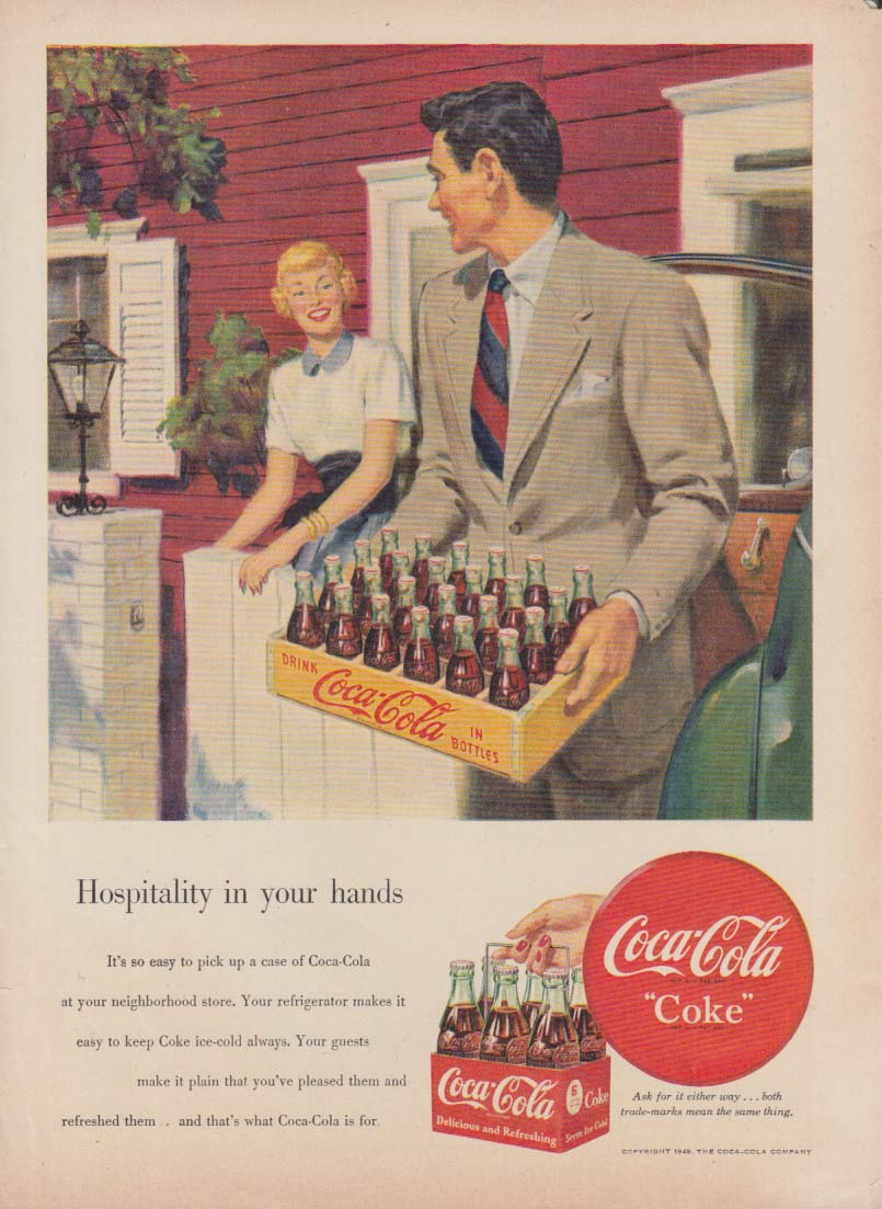 Hospitality in your hands - Coca-Cola ad 1949 wooden 24-bottle case shown