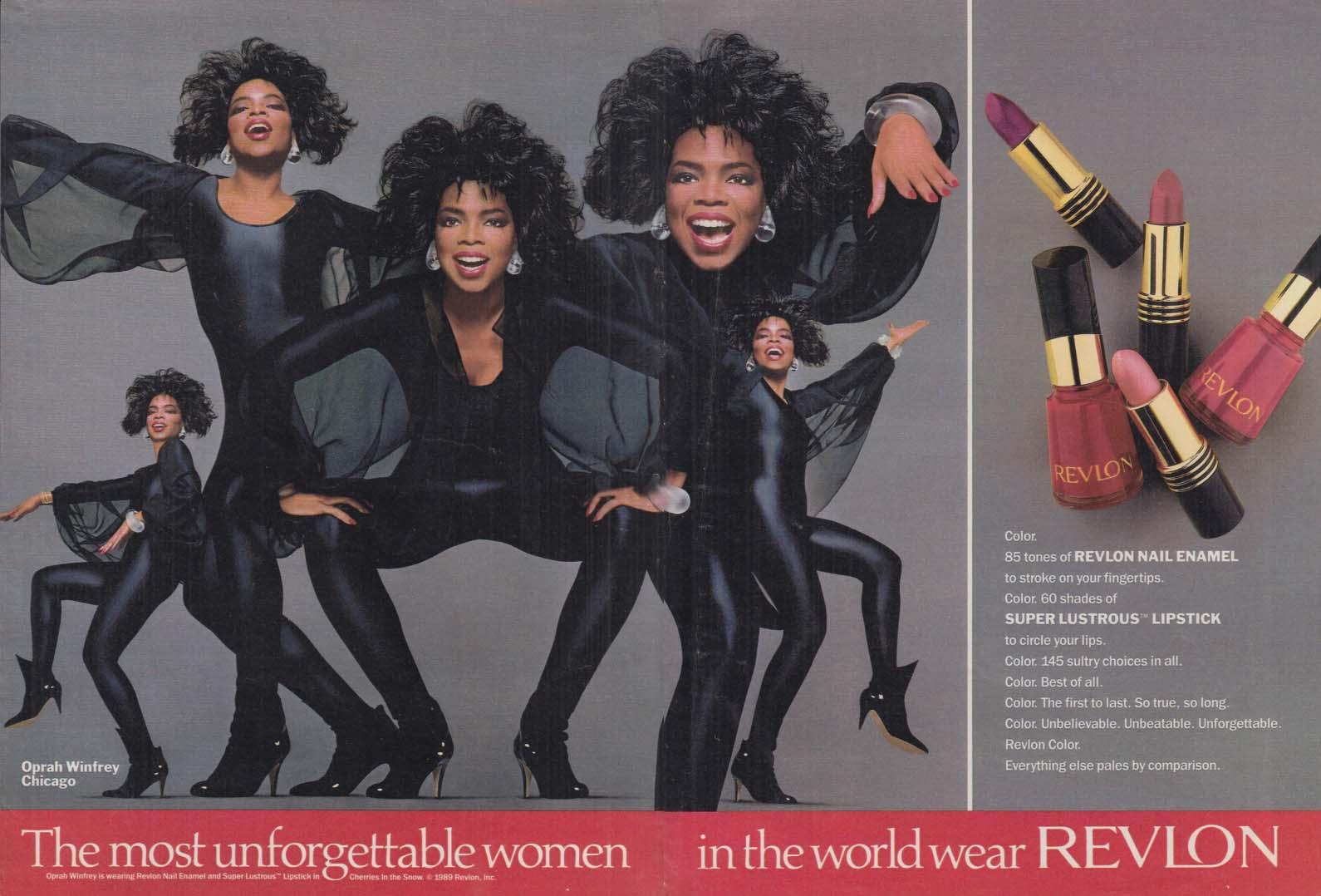 Oprah Winfrey for Revlon Lipstick & Nail Polish ad 1989