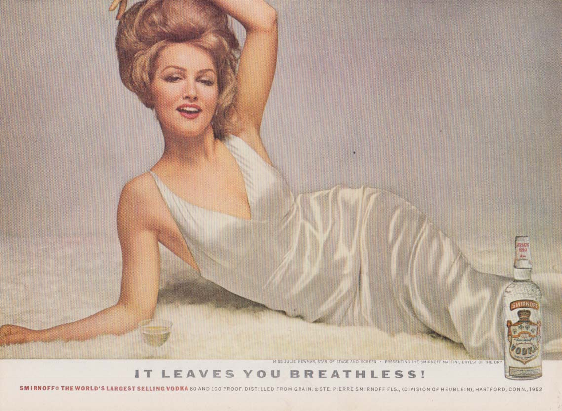 Julie Newmar for Smirnoff Vodke It Leaves You Breathless ad 1962 NY