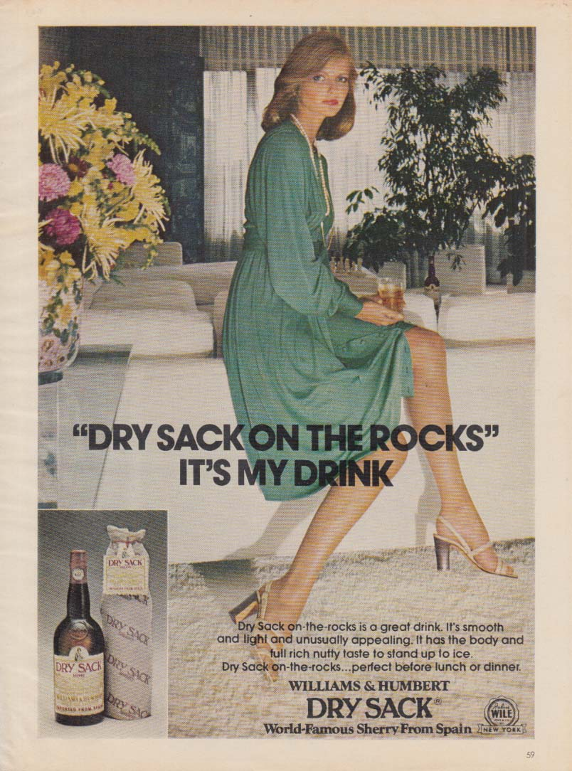 Dry Sack on the Rocks It's My Drink ad 1974 Cheryl Tiegs
