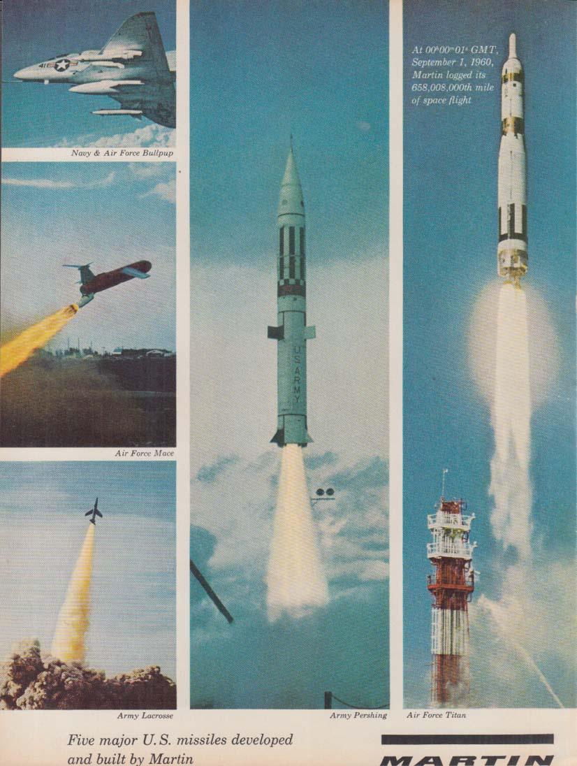 5 Major US Missiles- Martin Bullpup Mace Lacrosse Pershing Titan ad 1960