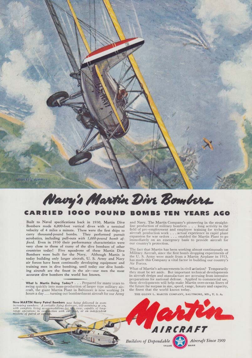 Navy's Martin Dive Bombers carries 1000 pound bombs 10 years ago ad 1941