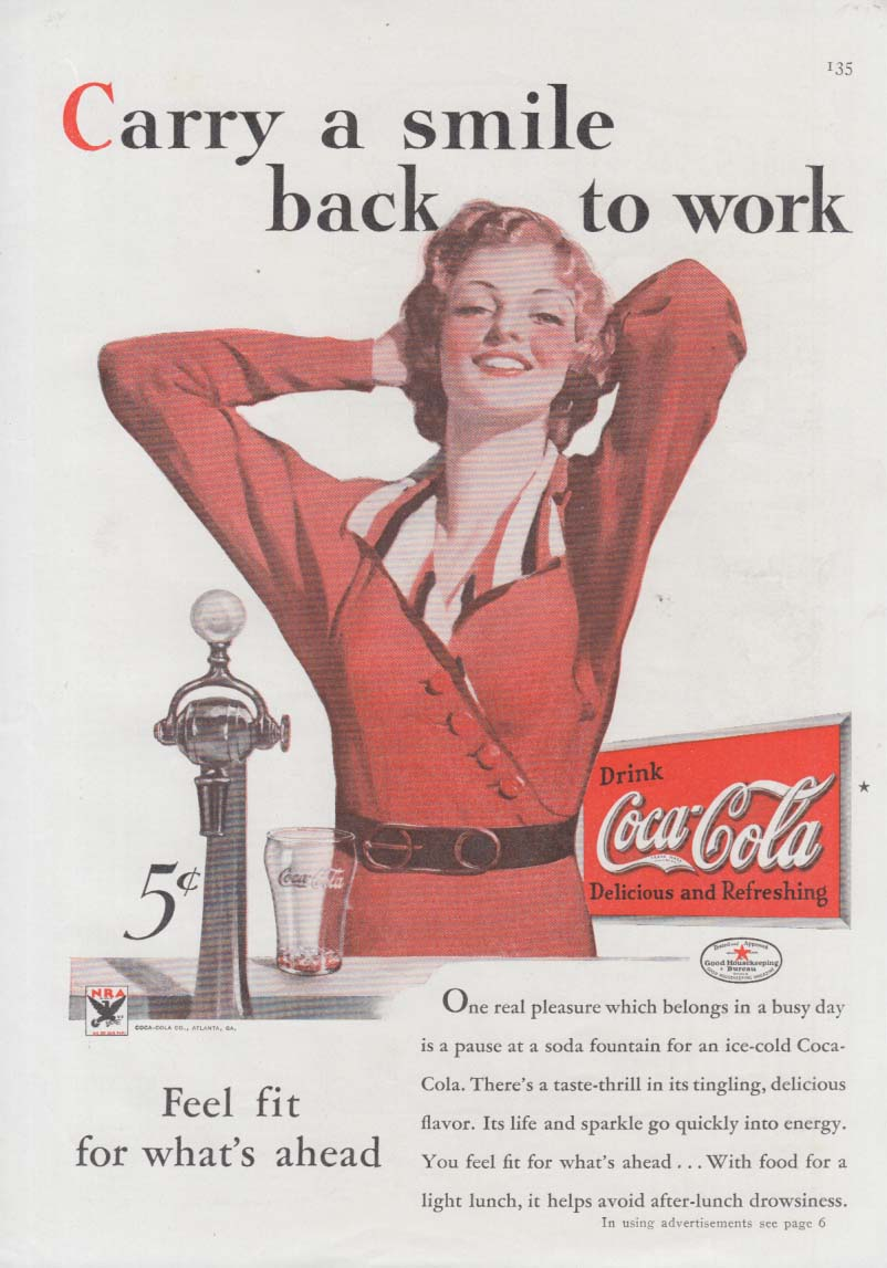 Carry a smile back to work Coca-Cola ad 1934 girl at soda fountain