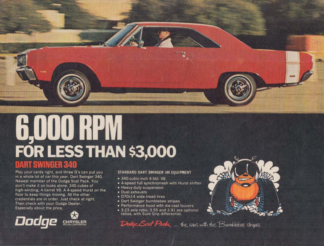 6000 RPM for less than $3000 - Dodge Dart Swinger 340 ad 1969 var