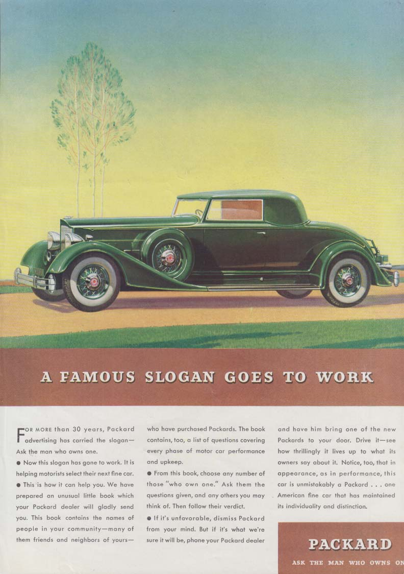 A Famous Slogan Goes to work - Packard Coupe ad 1934 T