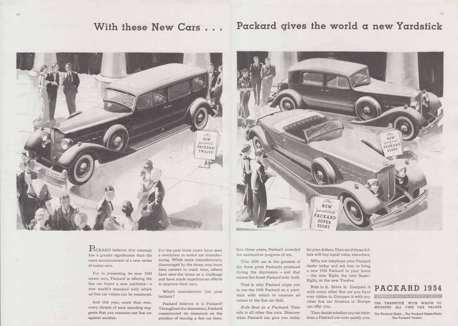 Packard gives the world a new Yardstick Twelve Eight Super Eight ad 1934