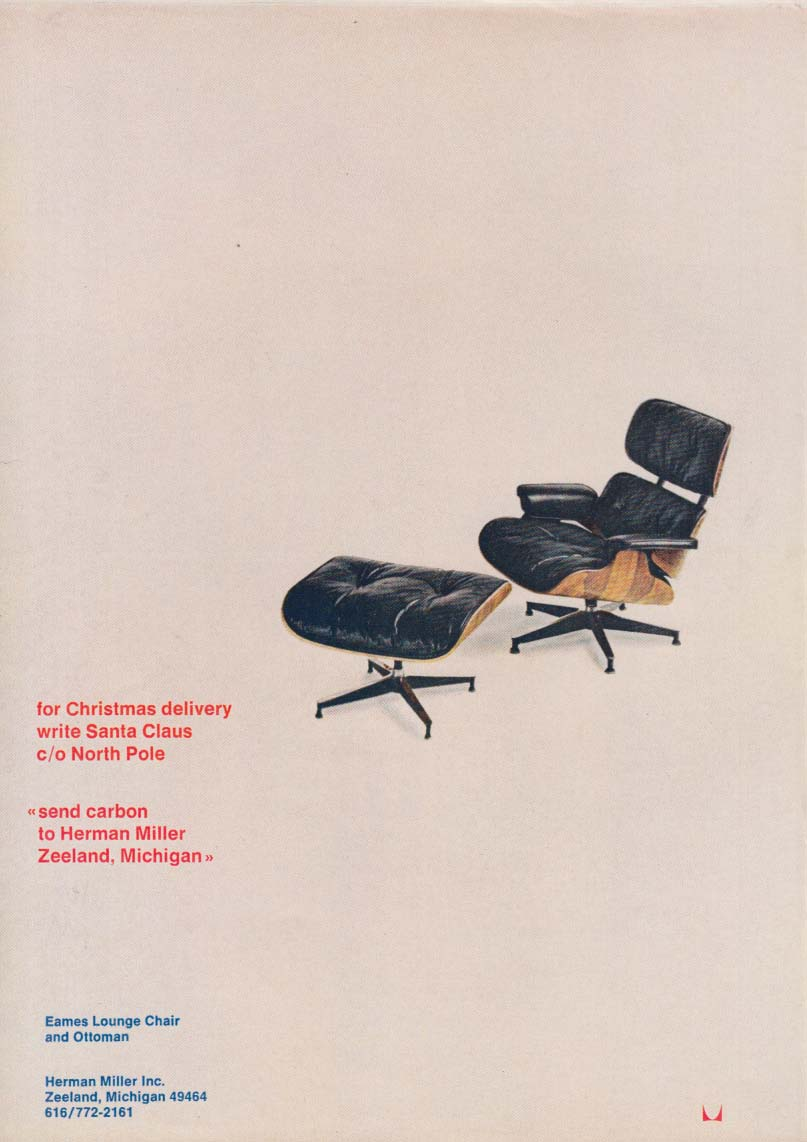 Eames Lounge Chair & Ottoman for Christmas Herman Miller ad 1969