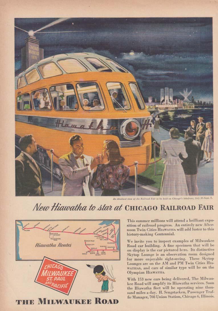 New Hiawatha to star at the Chicago Railroad Fair Milwaukee Road RR ad 1948 T