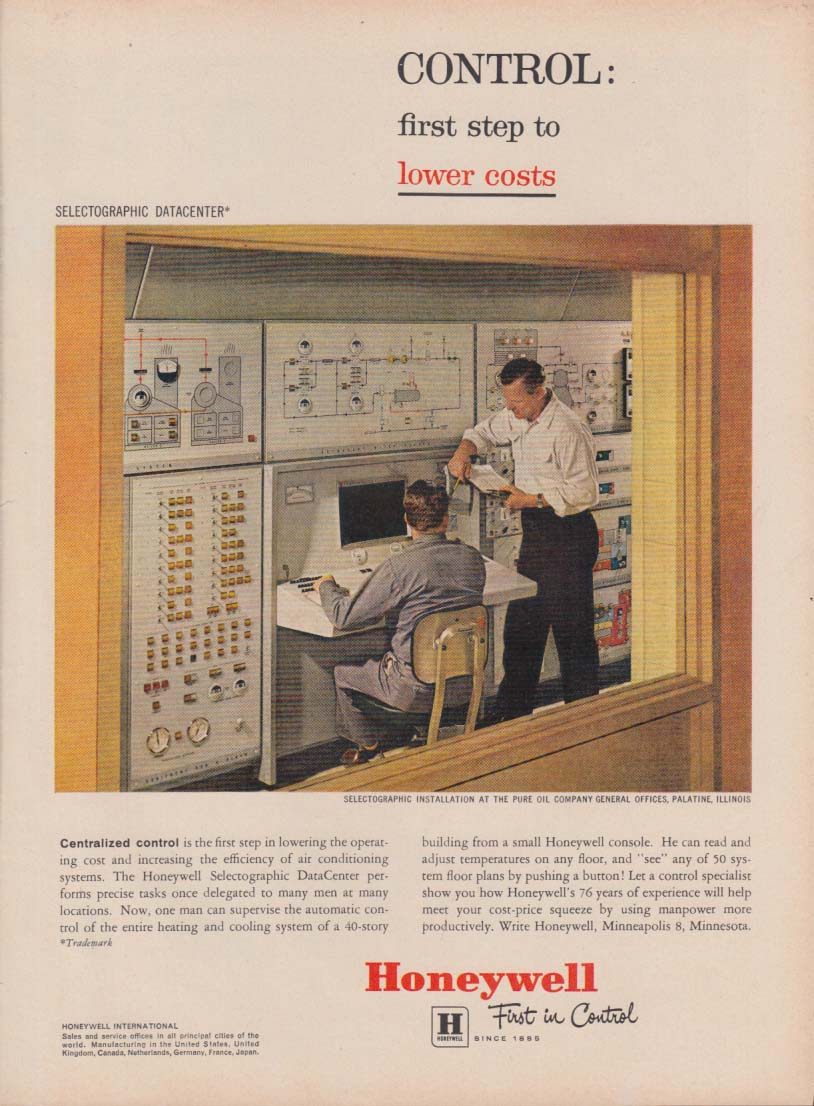 Control: 1st steps to lower costs Honeywell Selectographic Computer ad 1961