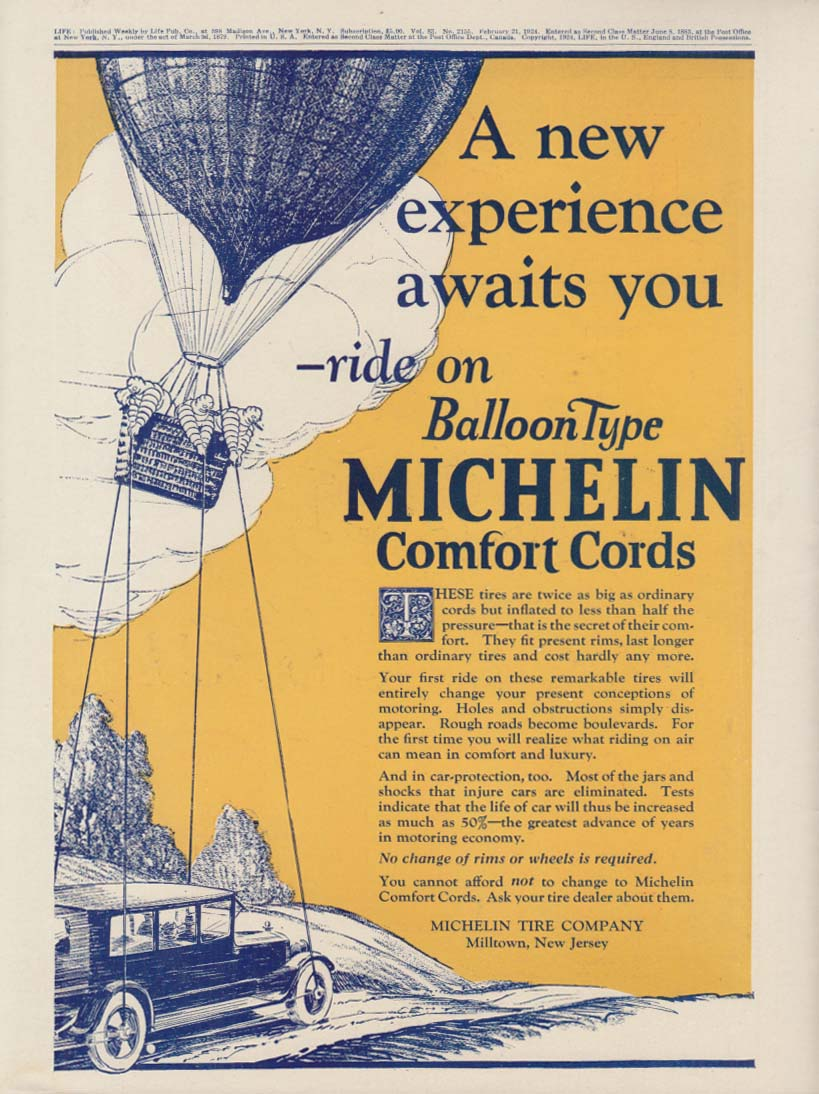 A new experience ride on Balloon Type Michelin Comfort Cord Tires ad 1924