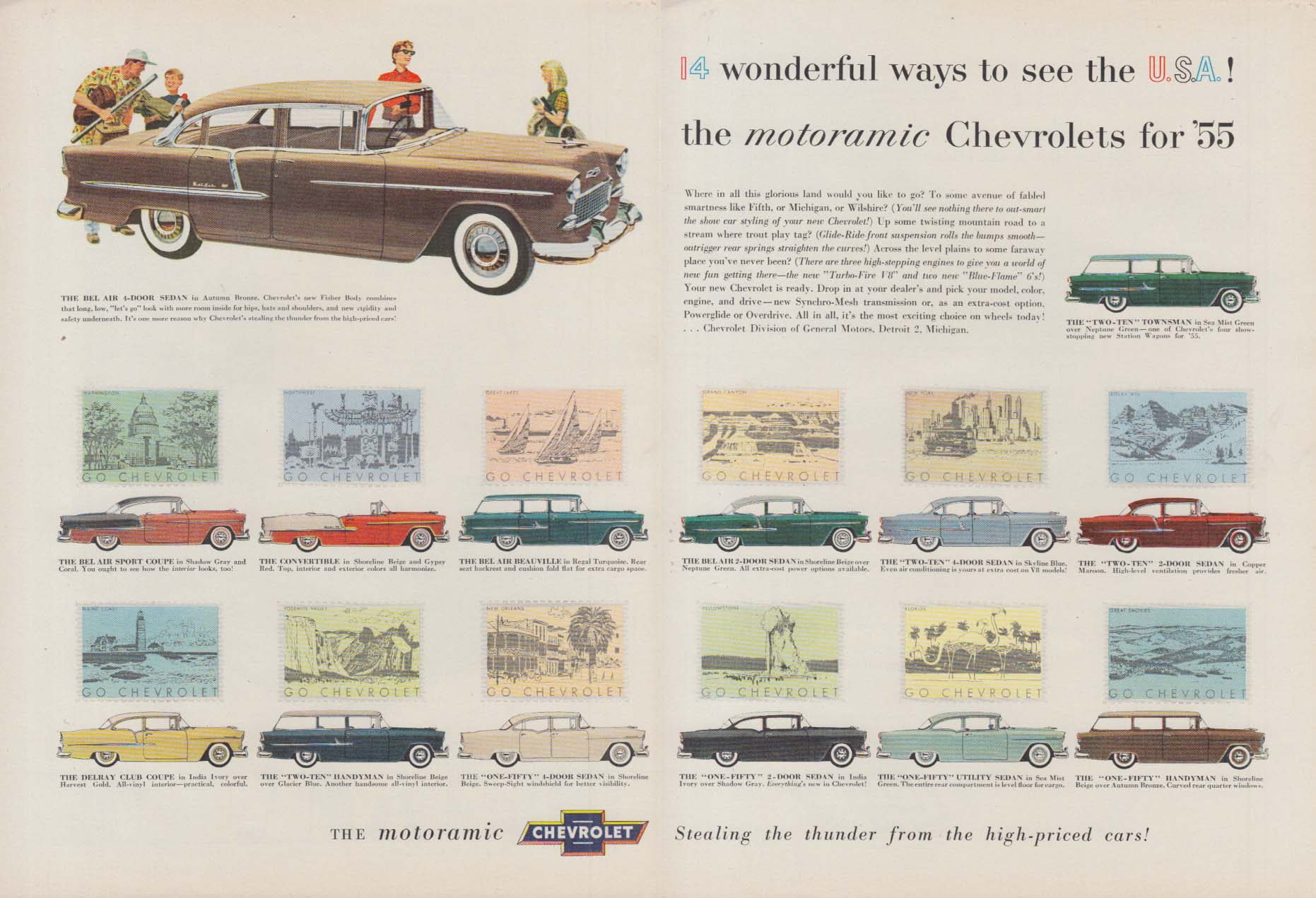 14 Wonderful ways to see the U S A - Chevrolet ad 1955 T