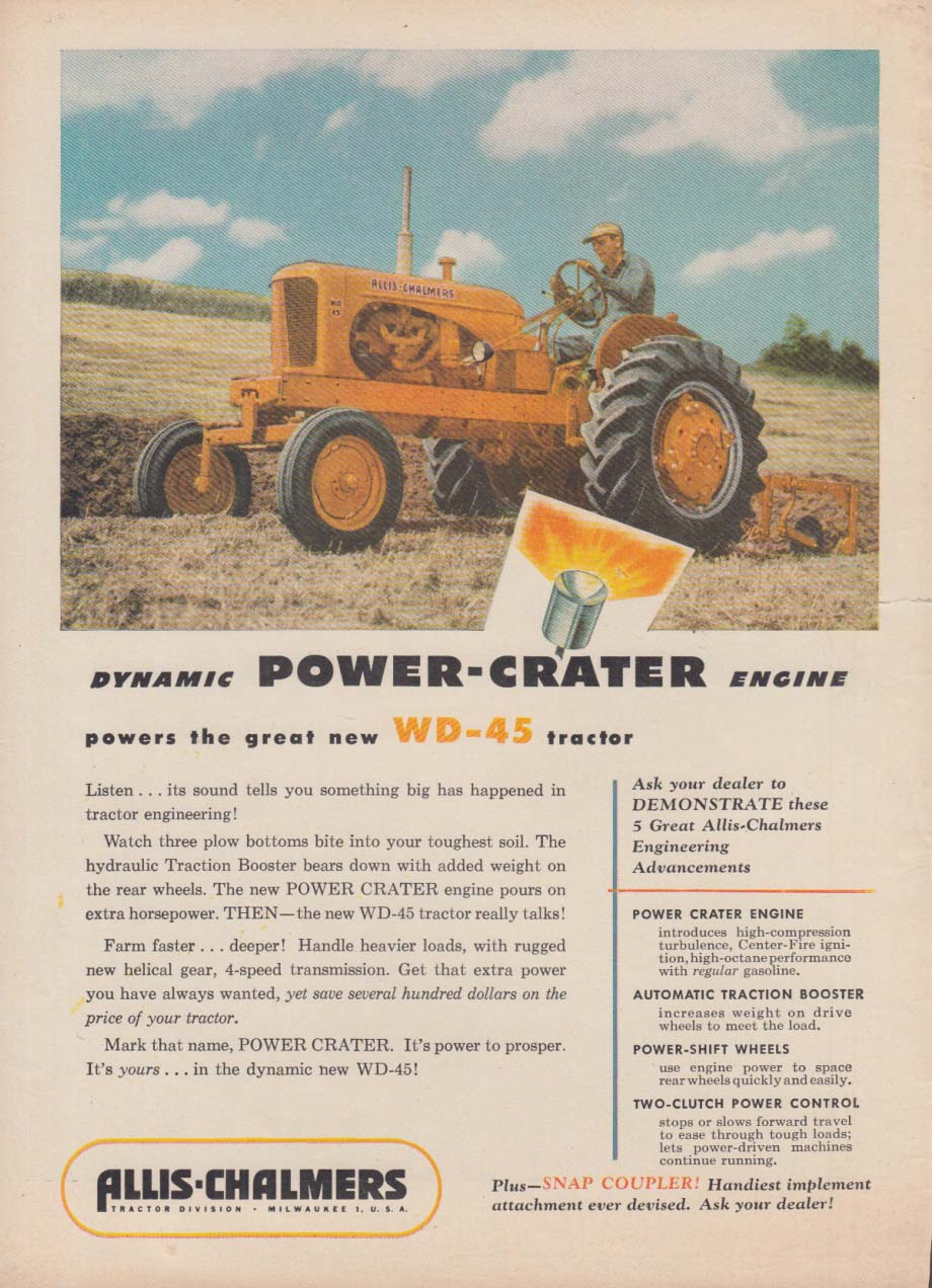 Dynamic Power-Crater engine - Allis-Chalmers WD-45 Tractor ad 1953