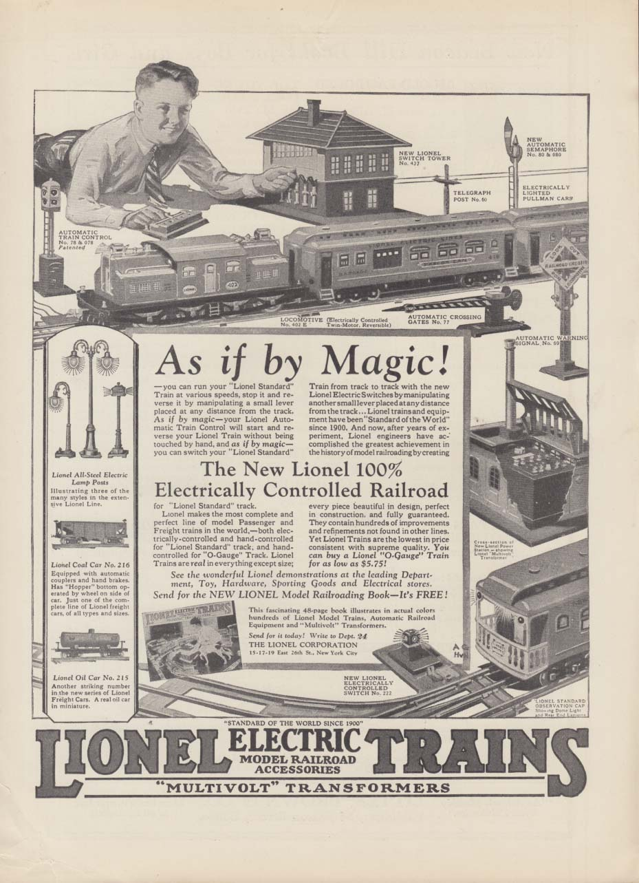 As if by Magic! Lionel Electric Trains MAGAZINE AD 1926