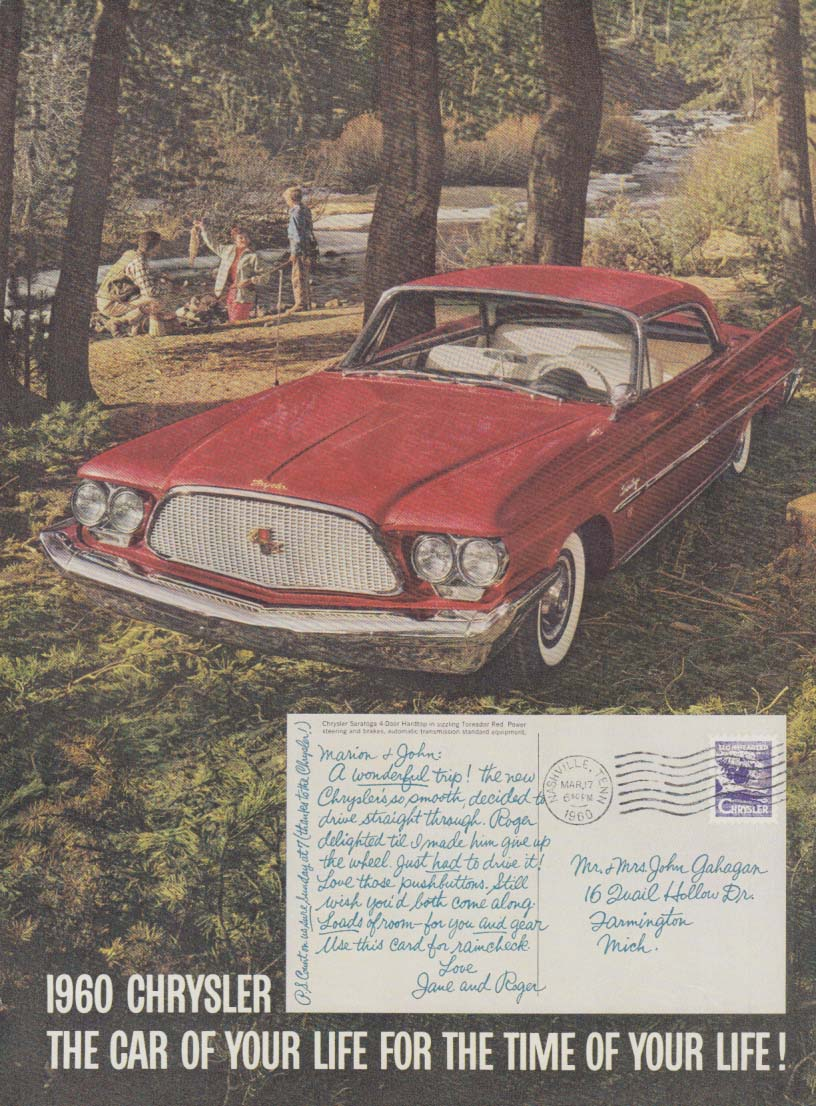 Image for The Car of Your Life for the Time of Your Life Chrysler Saratoga ad 1960