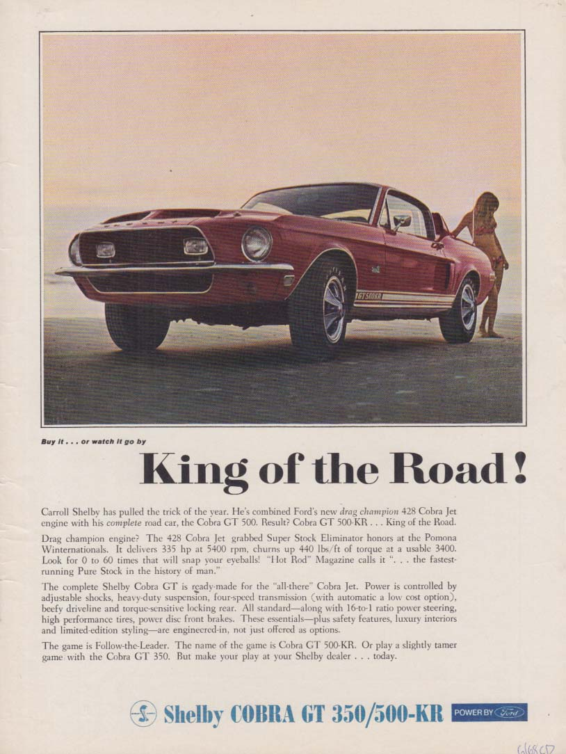 Image for King of the Road! Shelby Cobra GT 350 / 500-KR ad 1968