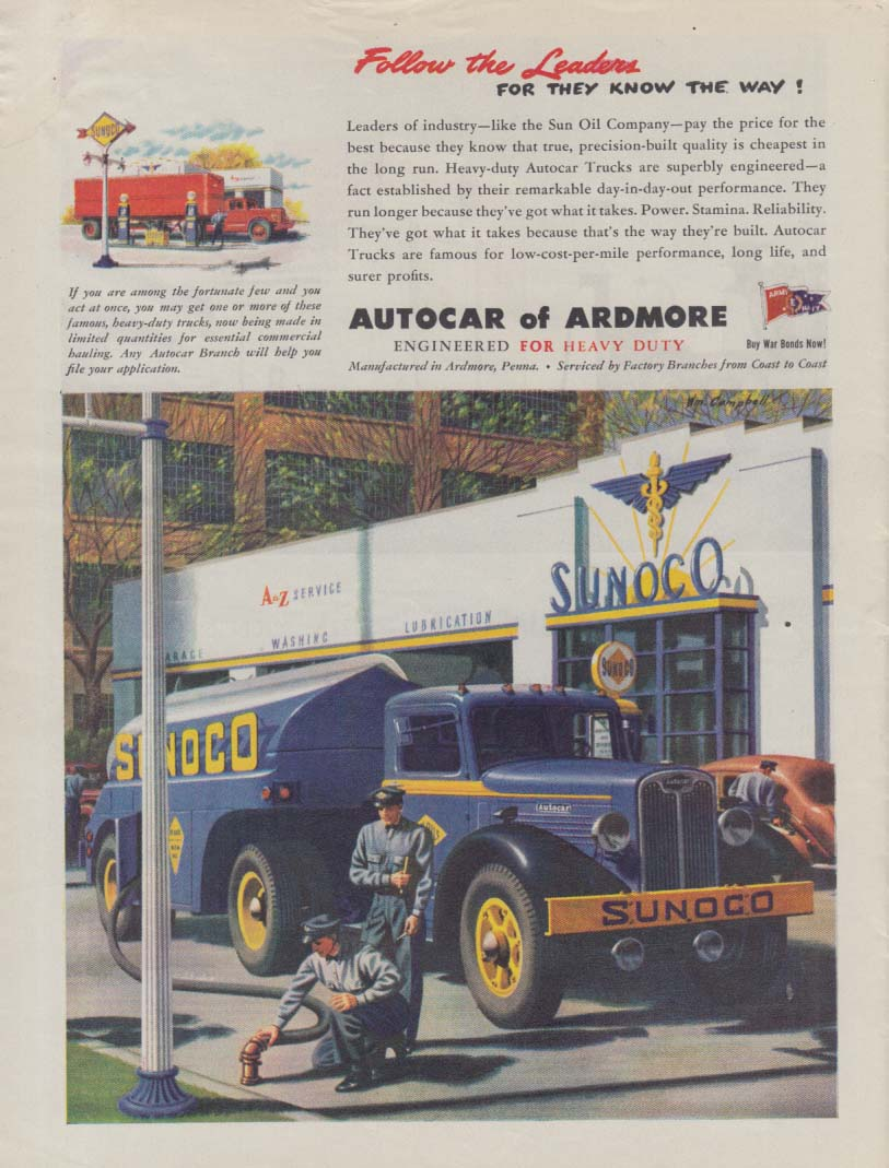 Follow the leaders they know the way Autocar Sunoco Gas Tanker truck ad1945 T