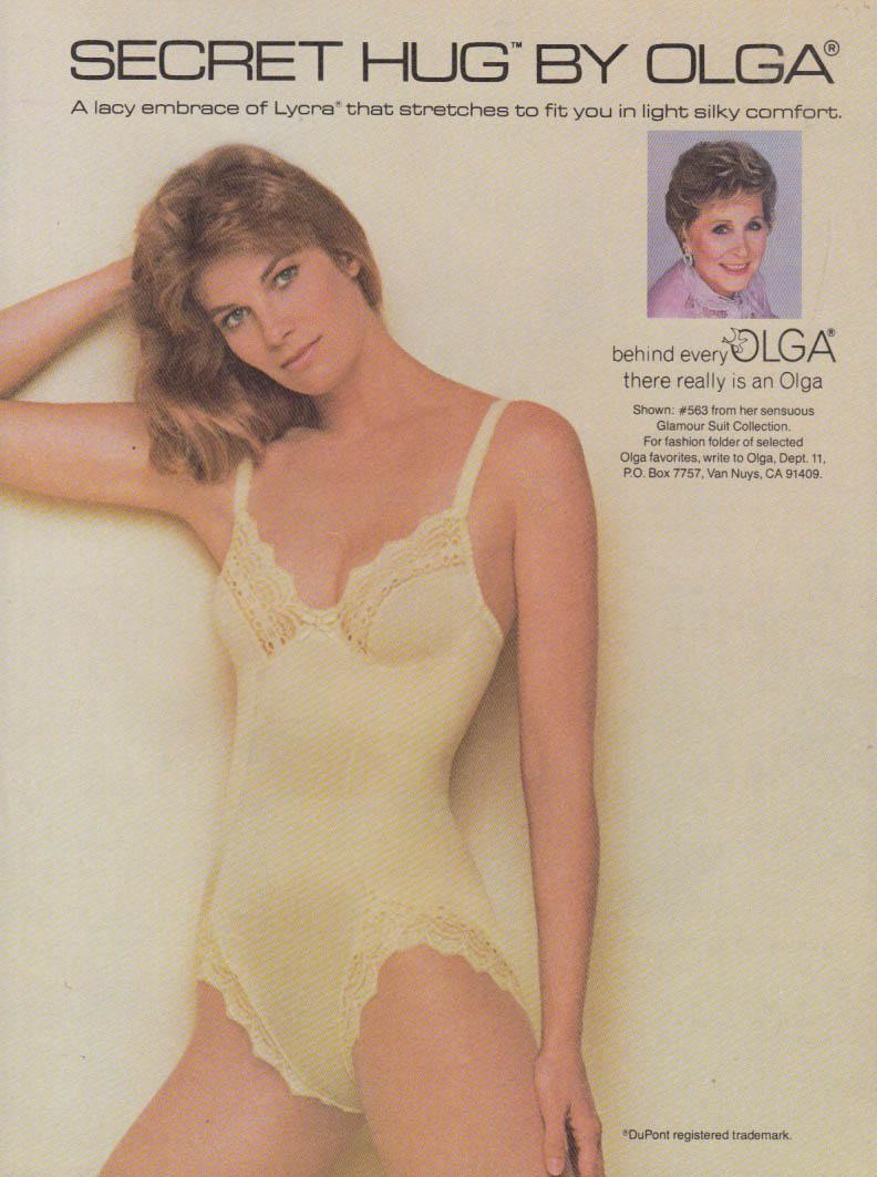A lacy embrace - Secret Hug Glamour Suit by Olga ad 1984 Vog bra