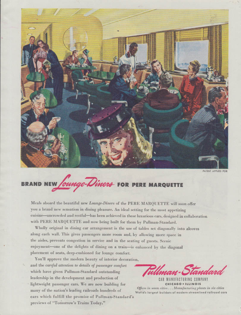 Brand New Pullman Lounge-Diner cars for Pere Marquette Railroad ad 1945 T