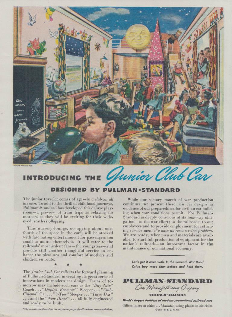 Introducing the Junior Club Railroad Car for kids Pullman-Standard RR ad 1945 T