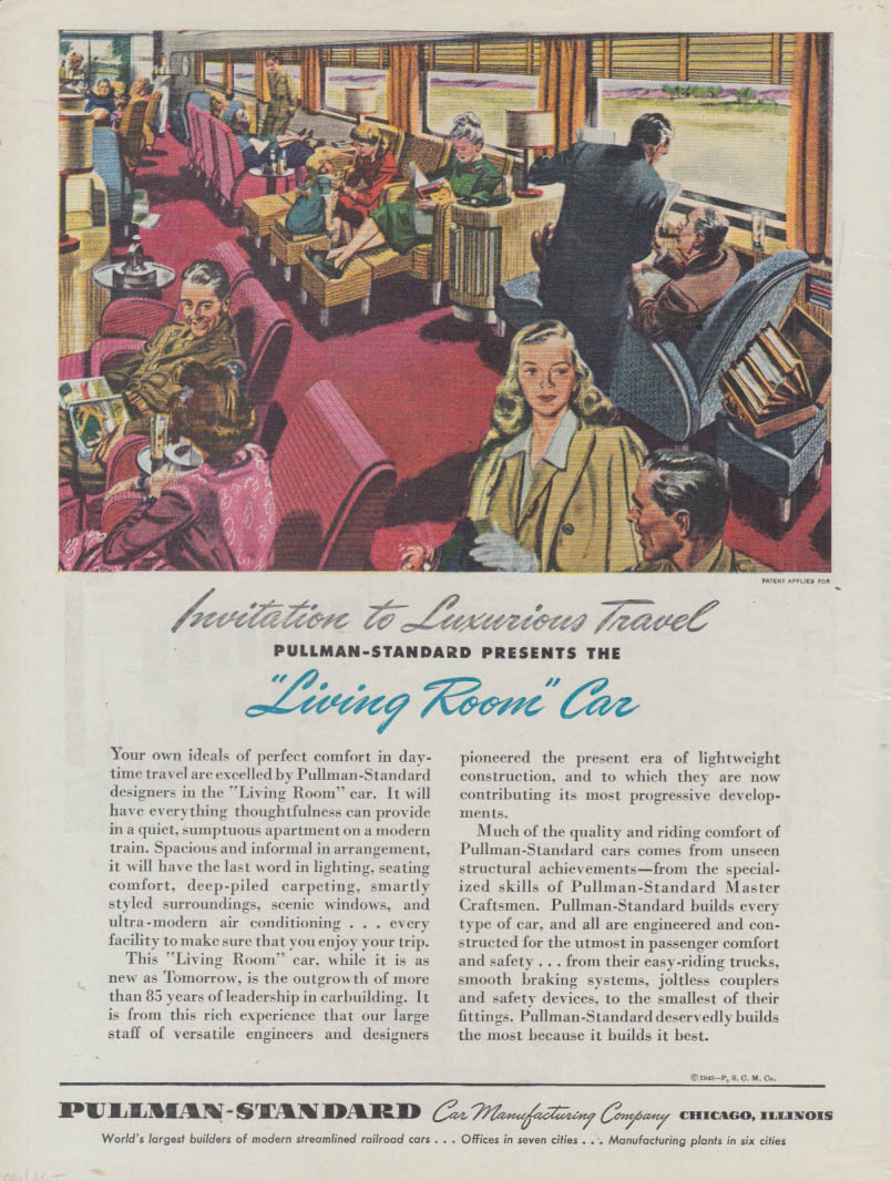 Luxurious Travel: Pullman-Standard Living Room Railroad Car ad 1945 T