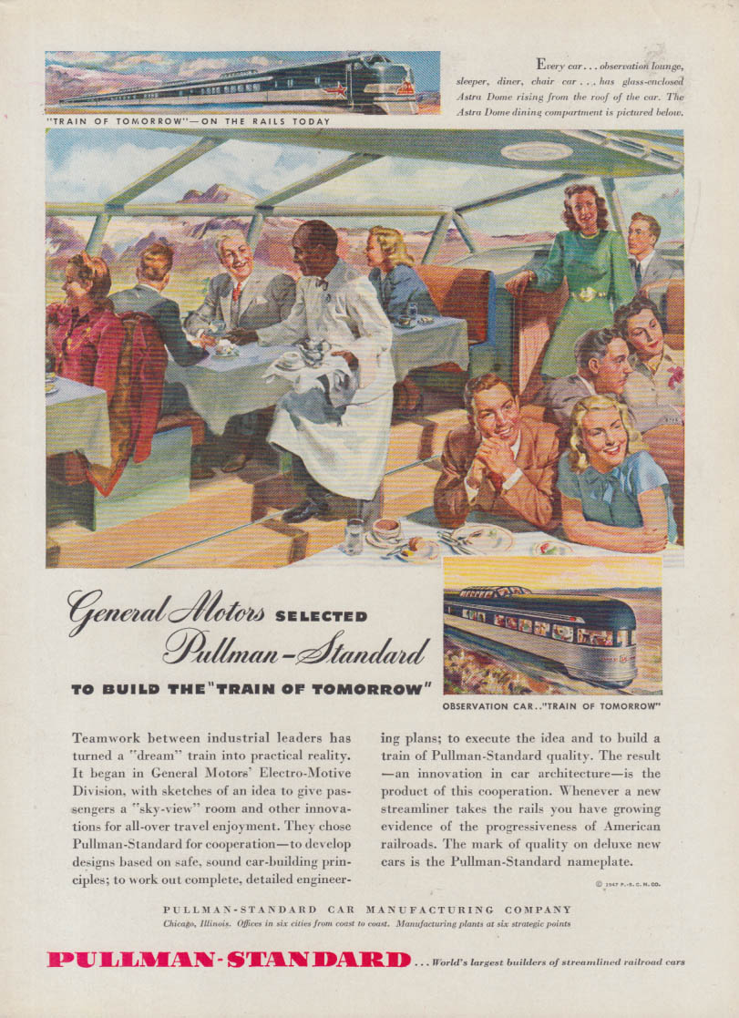 General Motors selects Pullman-Standard to Build the Train of Tomorrow ad 1947 v