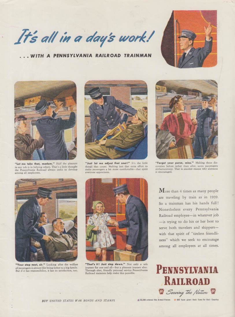 All in a day's work Pennsylvania Railroad conductor ad 1945 NY