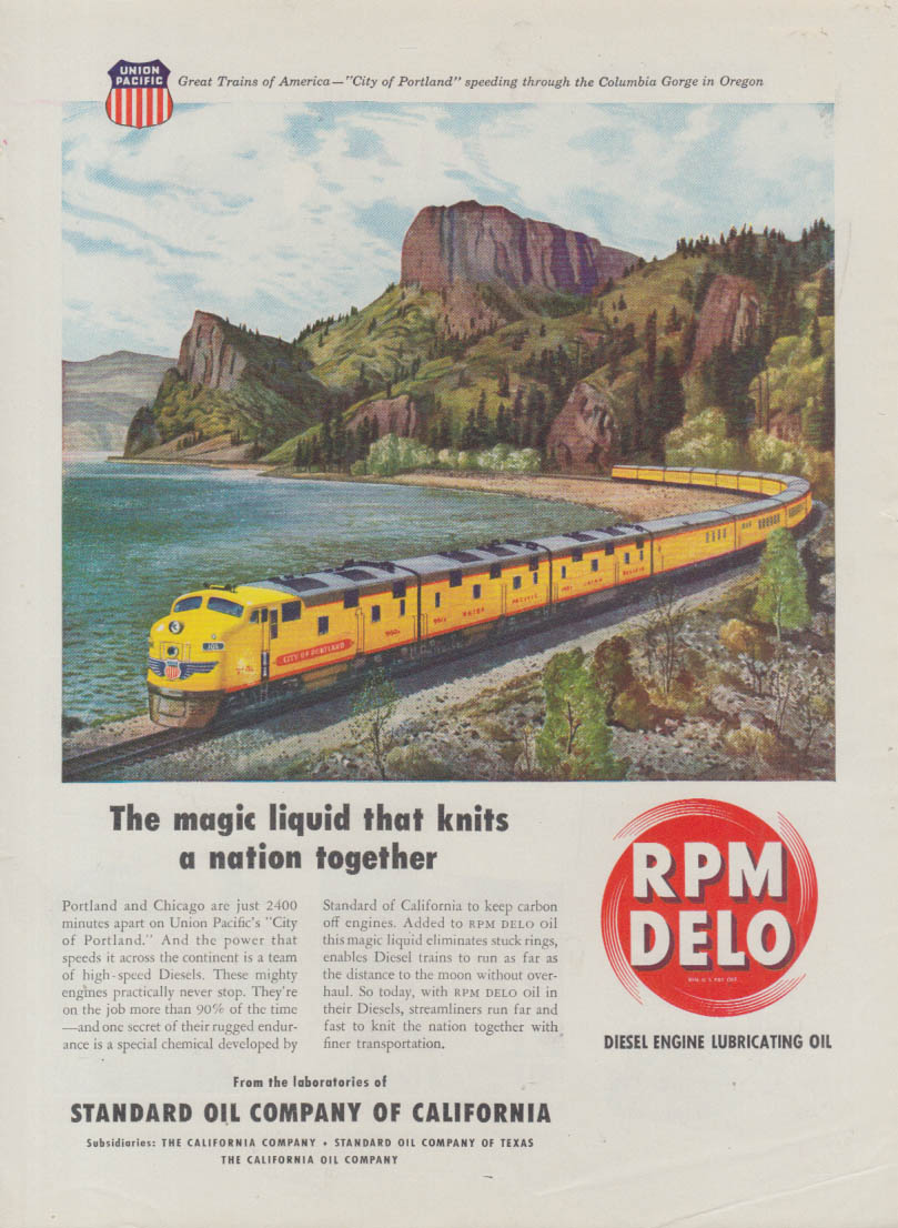 Magic liquid - Union Pacific RR City of Portland streamliner RPM Delo ad 1948 T