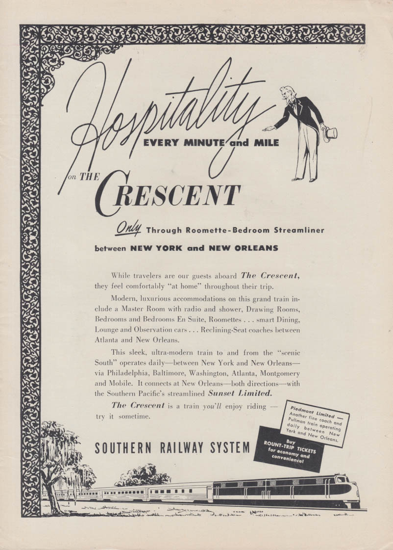 Hospitality every minute & mile Southern Railway Crescent NY-New Orleans ad 1953