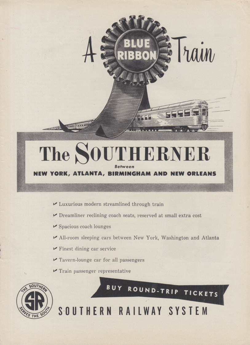 A Blue Ribbon Train - Southern Railway Southerner ad 1953