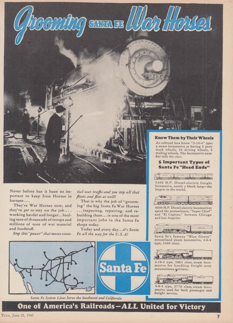 Grooming war Horses - Santa Fe Railroad ad 1943 T