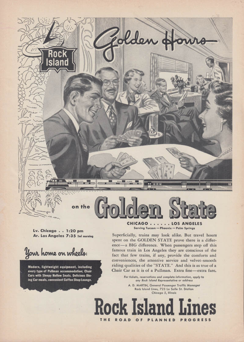 Golden Hours on the Rock Island Lines Golden State ad 1951
