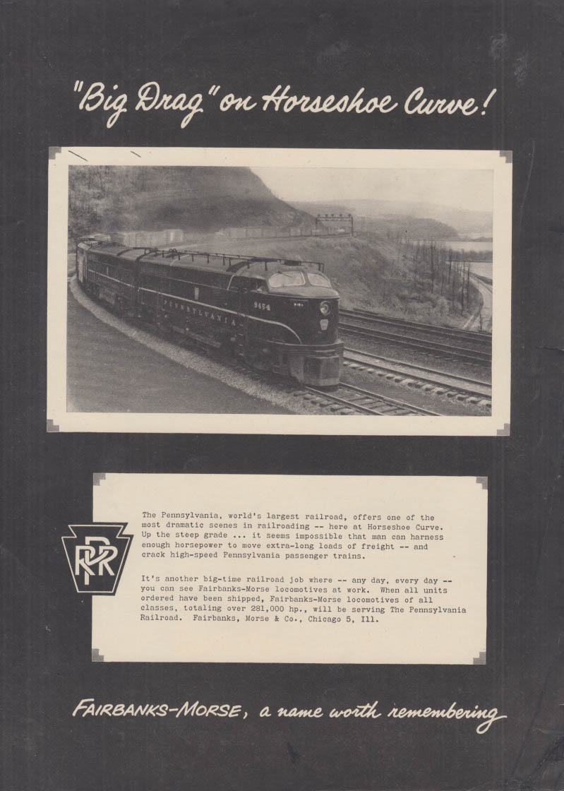 Big Drag on Horseshoe Curve Pennsylvania RR Fairbanks-Morse Sharknose ad 1951