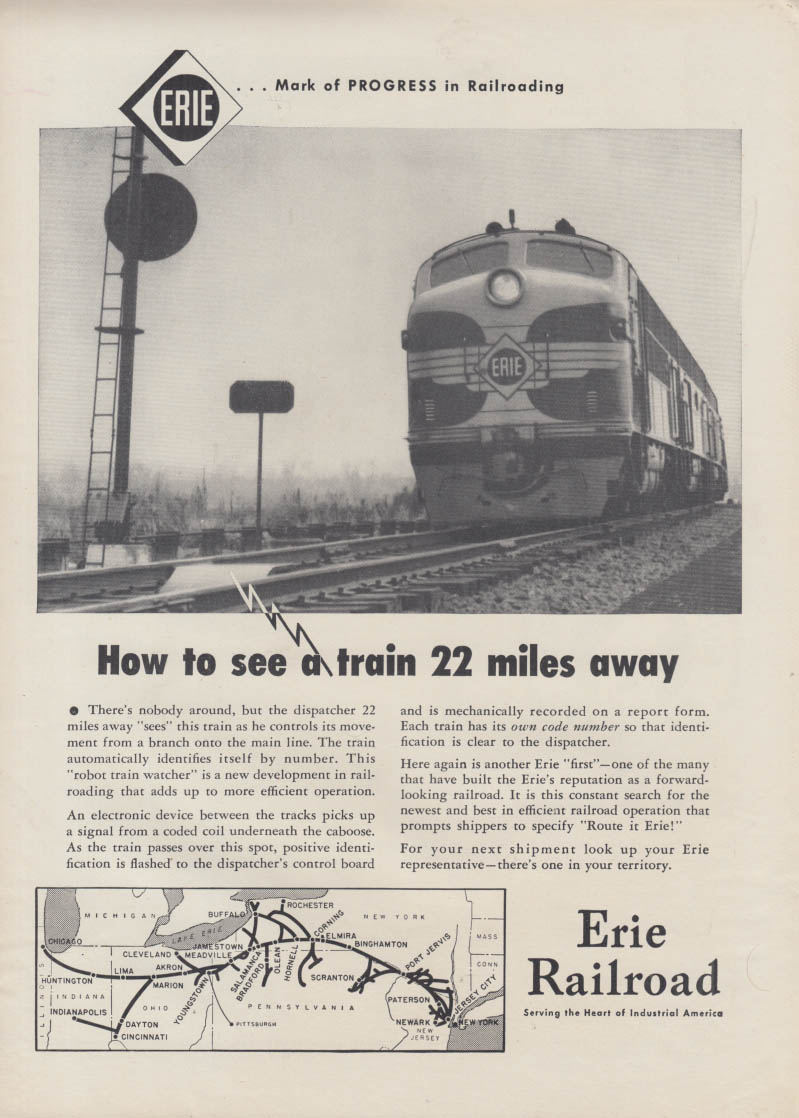 How to see the train 22 miles away Erie Railroad GM Diesel ad 1953
