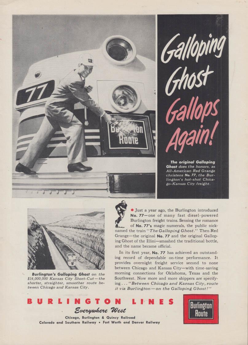 Galloping Ghost Gallops Again! Burlington Route Railroad ad 1953 Red Grange