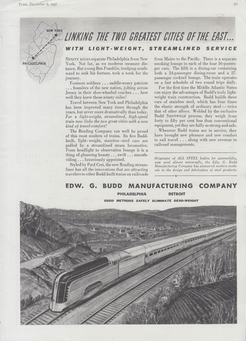 Linking NY & Philadelphia - Reading RR Crusader streamliner Budd ad 1937