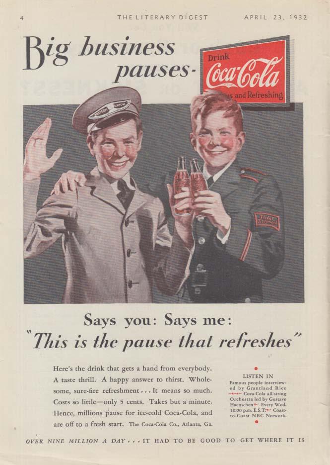 Big business pauses Coca-Cola ad 1932 Western Union Postal Telegraph LD