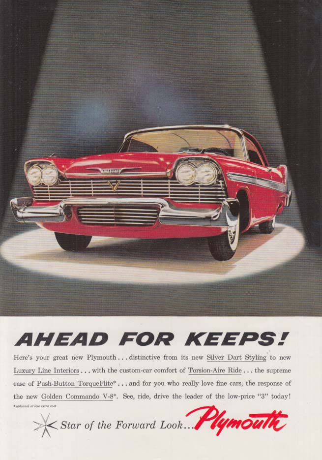 Ahead for Keeps! Plymouth Belvedere 2-door hardtop ad 1958 CAS