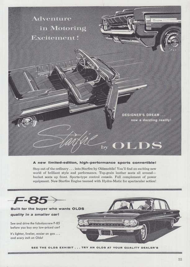Adventure in Motoring Excitement Oldsmobile Starfire & F-85 ad 1961 NYAS